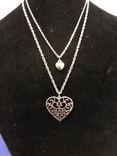 Silver Stone Double Heart Necklace, Adjustable