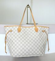 AUTHENTIC LOUIS VUITTON NEVERFULL MM Damier Azur Tote bag No.1198