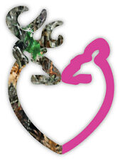 "Camo Buck and Pink Doe Heart sticker decal 4"" x 5"""