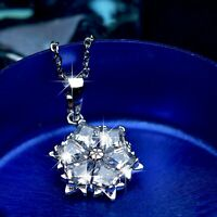18k white gold gp made with swarovski crystal snowflake pendant chain necklace