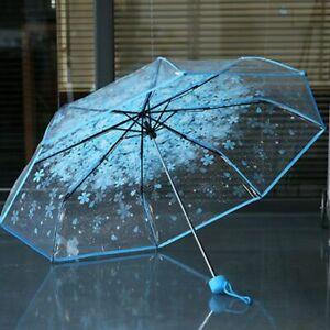 Umbrella Women Transparent Clear Blossom Sakura Folding Sunshade Rain Uv Sun Us