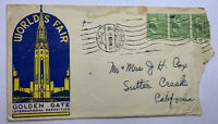 1939 SANTA BARBARA CALIFORNIA WITH FOREIGN CANCEL WORLD'S FAIR GOLDEN GATE COVER