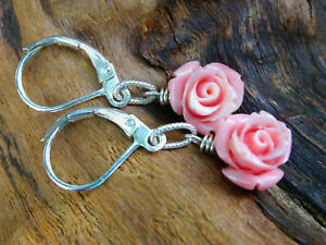 *PI*Intricate Carved pink CORAL ROSE .925 Sterling drop/dangle petite earring!