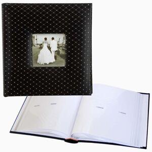 Black Diamond 6x4 Slip In 200 Wedding Photo Album with window, black satin cover
