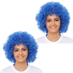 2 X BLUE AFRO WIG CURLY FANCY DRESS COSTUME ACCESSORY WORLD BOOK DAY OUTFIT