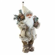 Standing Santa with Beige Overcoat & Snow Shoes Christmas Decoration