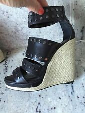 BCBG Max Azaria Black Leather Studded Wedges