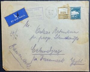1936 Palestine Mandate overweight airmail cover Denmark sent by sea untaxed