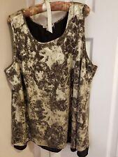 Dressbarn Black and Gold Sleeveless Top Preowned Size 2XL Eveningwear