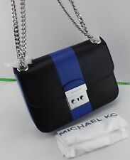 NEW AUTHENTIC MICHAEL KORS SLOAN CENTER STRIPE MD CHAIN SHOULDER HANDBAG BLUE