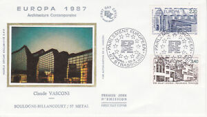 Enveloppe maximum 1er jour FDC Soie 1987 Europa Architecture Moderne Strasbourg
