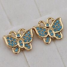 Nice Stylish Butterfly Blue Gems Jewelry Yellow Gold Filled Stud Earrings h2718