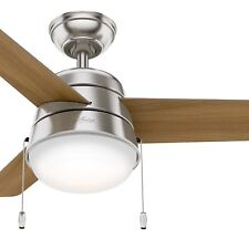 "Hunter 36"" Modern Ceiling Fan in Brushed Nickel with LED Light Kit"