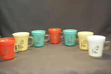 Vintage Melamine 9PC Insulated Colorful Coffee Mug Set Gold Leaf Design