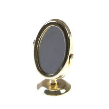 Miniature Oval Swing Dressing Mirror in Brass Stand Dolls House Accessories LE