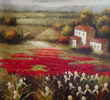 """Signed Original Tuscany Landscape Scene Oil Painting On Canvas 36"""" W  x 48""""  H."""