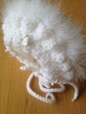 Premature Baby Girl White Crochet Bonnet With White Marabou And White Rosebuds