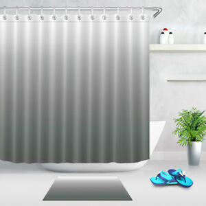 Gradient Gray Shower Curtain Liner Bath Mat Waterproof Mildew Fabric & 12 Hooks