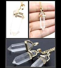 "Boho Clear Quartz Crystal Pendant 18"" Chain Magic Healing Energy Point Necklace"