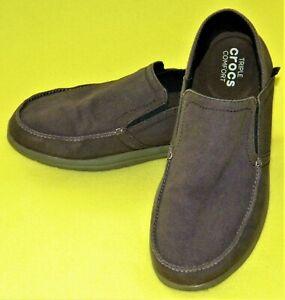 Crocs Santa Cruz Convertible Loafers Shoes Brown Slip-On - MEN'S 10 EUC