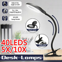 5X//10X Magnifier Glass LED Lamp Desk Table Reading Light with Clamp /& Dust Cover