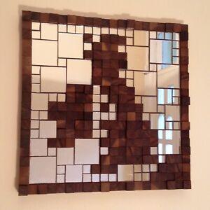 Hand-Made Map of Britain Mosaic Mirror & Walnut Wood Block Art Deco Wall Panel