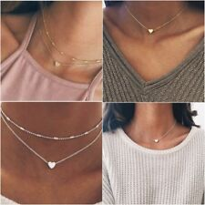 Silver Gold Necklace Pendant Beaded Chain Choker Heart Pendant Girls Women Gift