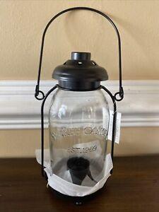 Yankee Candle Black Tea Light Holder Lantern Mason Jar Est 1969 New