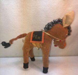Vtg 40-50's Japan DEM Democratic Donkey Political Velvet Felt stuffed Animal Toy