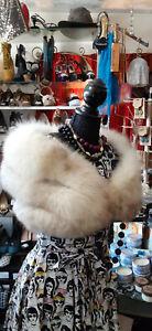 Vintage Fox Fur Off White Stole Bridal Shawl Wedding Cape VINTAGE DELUXE