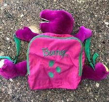 Vintage 90's Barney The Dinosaur Plush Stuffed Animal Kids Book bag Backpack