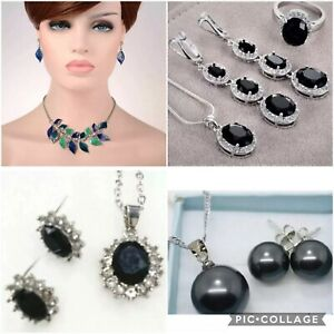 Silver Black Onyx Crystal Rhinestone Gemstone Necklace Earrings Bridal Prom Set