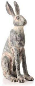 Rabbit Hare Ornament Rustic Freestanding Grey Distressed rabbit figurine