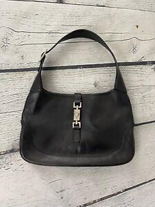 Gucci Vintage Black Leather Jackie 002 3306 2684 Push Lock Shoulder Bag Purse