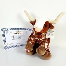 """Build A Bear Texas LONGHORN Bull / Cow Plush Spotted BABW 16"""" Brown Stuffed Toy"""