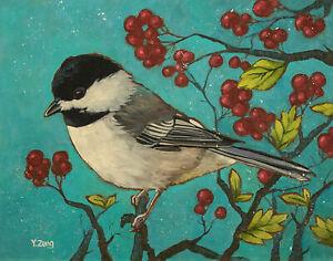 "Giclee fine art print of oil painting chickadee bird, animal 11""×14"""