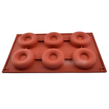 6cav Doughnut Donut Bundt Ring Cake Chocolate Dessert Silicone Mold Tray Pan