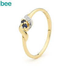 2mm Natural Sapphire Diamond 9ct 9k Solid Yellow Gold Band Ring Size P 7.75