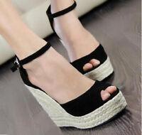 Womens Vintage Bohemian High Wedge Heel Ankle Strap Platform Sandals Pumps Shoes