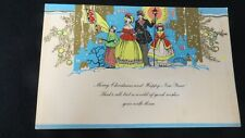 Vintage Art Deco Caroling Christmas Card c. 1920s unsigned