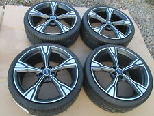 "SET FOUR GENUINE AUDI TT MATT BLACK 20"" 5 SPOKE ALLOY WHEELS WITH PIRELLI TYRES"