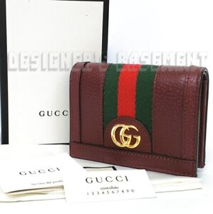 GUCCI burgundy OPHIDIA leather green-red web Gold MARMONT GG Mini wallet NIBAuth