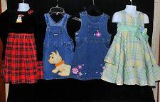 Girls Size 3T Dress Lot Summer Church Denim Jumper Fluffy Dog Applique YearRound