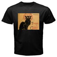 New Le Chat Noir Black Cat Men's Black Tee T-shirt Size S-3XL FREE SHIPPING