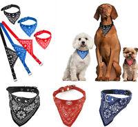 Pet Dog Cat Neck Scarf Bandana with Leather Collar Neckerchief Adjustable CA LD7