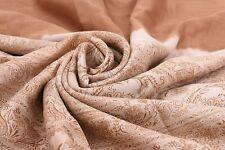INDIAN VINTAGE BROWN SAREE PRINTED 100% PURE SILK FABRIC ANTIQUE CRAFTS 5YD SARI