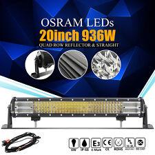 8d+ 20Inch 936W OSRAM Led Spot Flood Combo Quad Row Light Bar Driving Lamp VS 7d