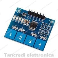 Modulo digitale capacitivo TTP224 a 4 tasti touch sensor (arduino-compatibile)