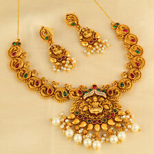 South Indian Bollywood Copper Gold Plated Matte Finish Temple Jewelry Wedding
