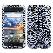 For Alltel LG Ignite HARD Protector Case Snap on Phone Cover Black Giraffe Pair